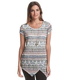 AGB® Printed Tulip Hem Sweater
