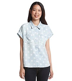 Earl Jean® Star Print Button Down Top