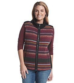Ruff Hewn Plus Size Stripe Sweater Front Polar Fleece Vest