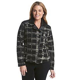 Ruff Hewn GREY Plus Size Exploded Plaid Print Moto Jacket