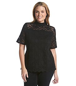 Ruff Hewn GREY Plus Size Lace Mock Neck Top
