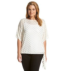 MICHAEL Michael Kors® Plus Size Bergalia Dot Print Side Tie Top