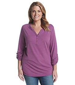 Relativity® Plus Size Solid Henley Knit Top