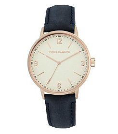 Vince Camuto™ Women's Rose Goldtone and Navy Suede Strap Watch