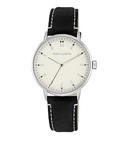 Vince Camuto™ Women's Silver and Black Suede Strap Watch