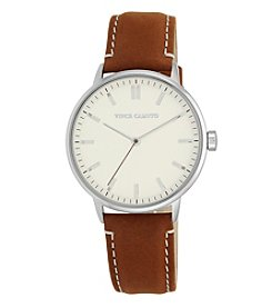 Vince Camuto™ Women's Silver and Honey Suede Strap Watch