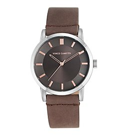 Vince Camuto™ Women's Dark Brown Smooth Leather Strap Watch