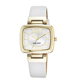 Nine West® Goldtone Rectangular White Strap Watch