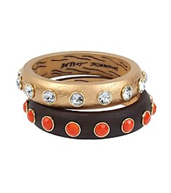 Betsey Johnson® Goldtone Faceted Stone Bangle Bracelet Set