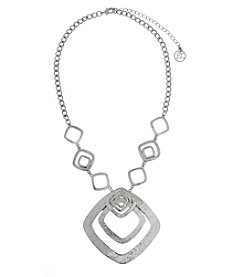 Erica Lyons® Silvertone Squares Short Pendant Necklace