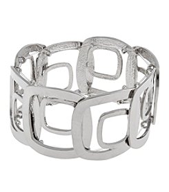 Erica Lyons® Silvertone Squares Bold Open Squares Wide Stretch Bracelet