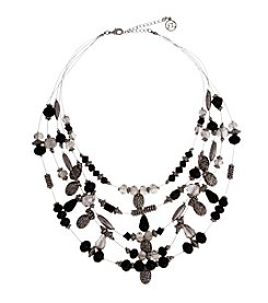 Erica Lyons® Silvertone Jet Short Illusion Necklace