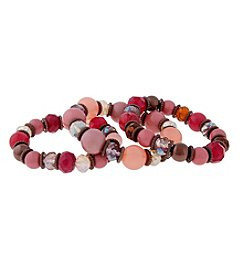 Erica Lyons® Chocolate Tone Mauve About You Three Piece Stretch Bracelet