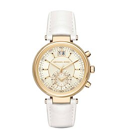 Michael Kors® Sawyer Goldtone And White Leather Chronograph Watch