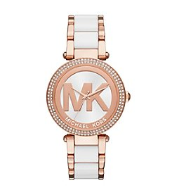 Michael Kors® Parker Rose Goldtone And White Acetate Three Hand Watch