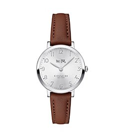 COACH Women's Ultra Slim 28 MM Stainless Steel Silvertone Watch With Saddle Soft Port Leather Strap