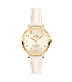 COACH Women's Ultra Slim 28mm Gold Plated Watch With Chalk Retro Glovetan Leather Strap