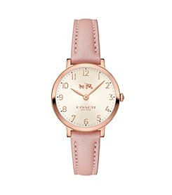 COACH Women's Ultra Slim 28mm Rose Gold Plated Watch With  Blush Pearlized Leather Strap