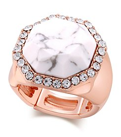 GUESS Rose Goldtone White Stretch Ring
