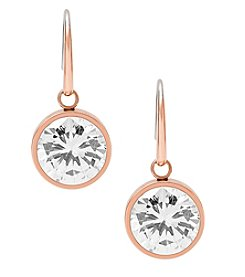 Michael Kors® Rose Goldtone Clear Cubic Zirconia Drop Earrings