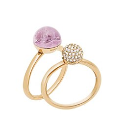 Michael Kors® Goldtone Cape Amethyst & Clear Pave Stack Ring