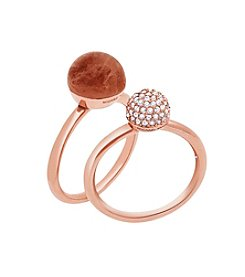 Michael Kors® Rose Goldtone Carnelian & Clear Pave Stack Rings
