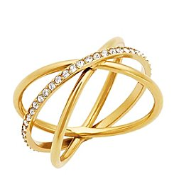 Michael Kors® Goldtone Clear Pave Banded  Wide Ring