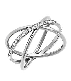 Michael Kors® Silvertone Clear Pave Banded Wide Ring