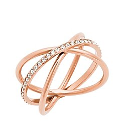 Michael Kors® Rose Goldtone Clear Pave Banded  Wide Ring