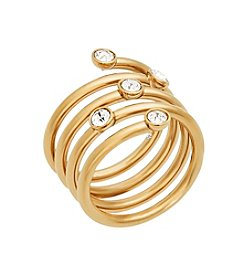 Michael Kors® Goldtone & Clear Pave Banded  Wide Ring