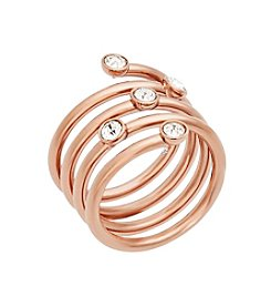 Michael Kors® Rose Goldtone & Clear Pave Banded  Wide Ring