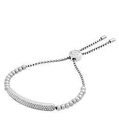 Michael Kors® Silvertone & Clear Pave Slider Bracelet