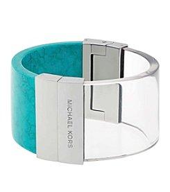 Michael Kors® Silvertone Turquoise & Lucite Hinged Bangle Bracelet