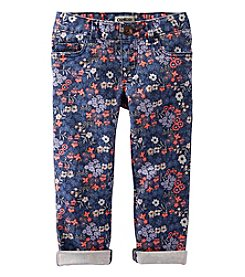 OshKosh B'Gosh® Girls' 2T-6X Floral Twill Roll Cuff Pants