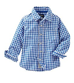 OshKosh B'Gosh® Boys' 2T-7 Long Sleeve Checked Button Down Shirt