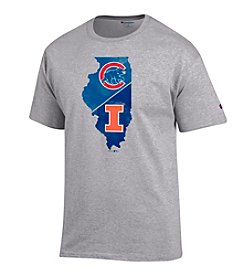 MLB® Chicago Cubs and NCAA® Illinois Fighting Illini Men's Logo Short Sleeve Tee