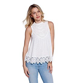 Skylar & Jade™ High-Neck Crochet Trim Tank Top