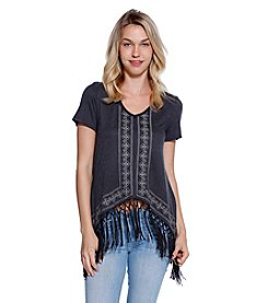 Skylar & Jade™ Short Sleeve Embroidered Tee With Fringe