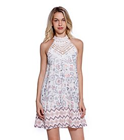 Skylar & Jade™ Crochet High Neck Printed Gauze Swing Dress