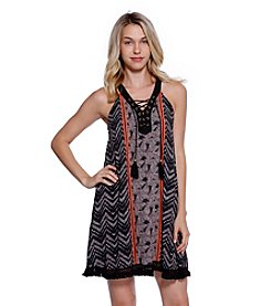 Skylar & Jade™ Printed Gauze Dress With Fringe And Tassels