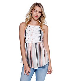 Skylar & Jade™ Embroidered Cutout Lace Striped Tank Top