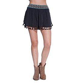 Skylar & Jade™ Embroidered Shorts With Fringe