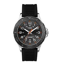 Timex® Men's Taft Street Black Silicone Strap Watch