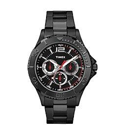 Timex® Men's Taft Street Multifunction Black Stainless Steel Bracelet Watch