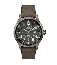 Timex® Men's Expedition Scout Brown Leather Strap Watch
