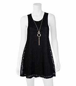 A. Byer Stretch Lace Swing Dress With Necklace