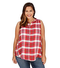 Lucky Brand® Plus Size Button Front Plaid Tank