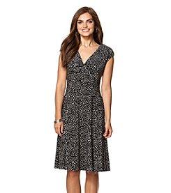 Chaps® Polka-Dot Surplice Dress