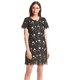 Calvin Klein Petites' Short Sleeve Lace Sheath Dress