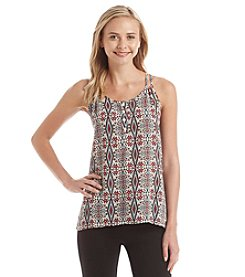 Pink Rose® Double Strap Printed Henley Top